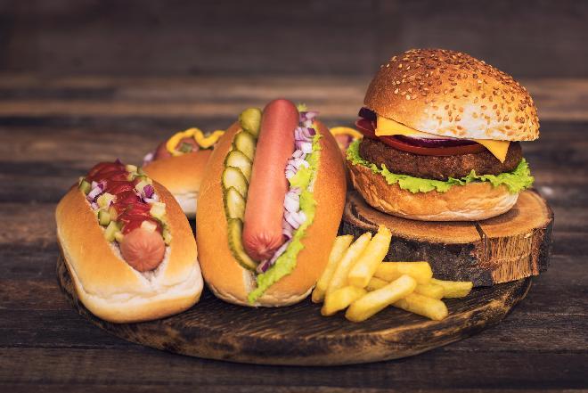 Hot Dog On Hamburger
