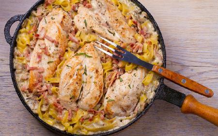 Najlepsza pierś kurczaka z pieczarkami i boczkiem w sosie: pyszny obiad w 30 minut